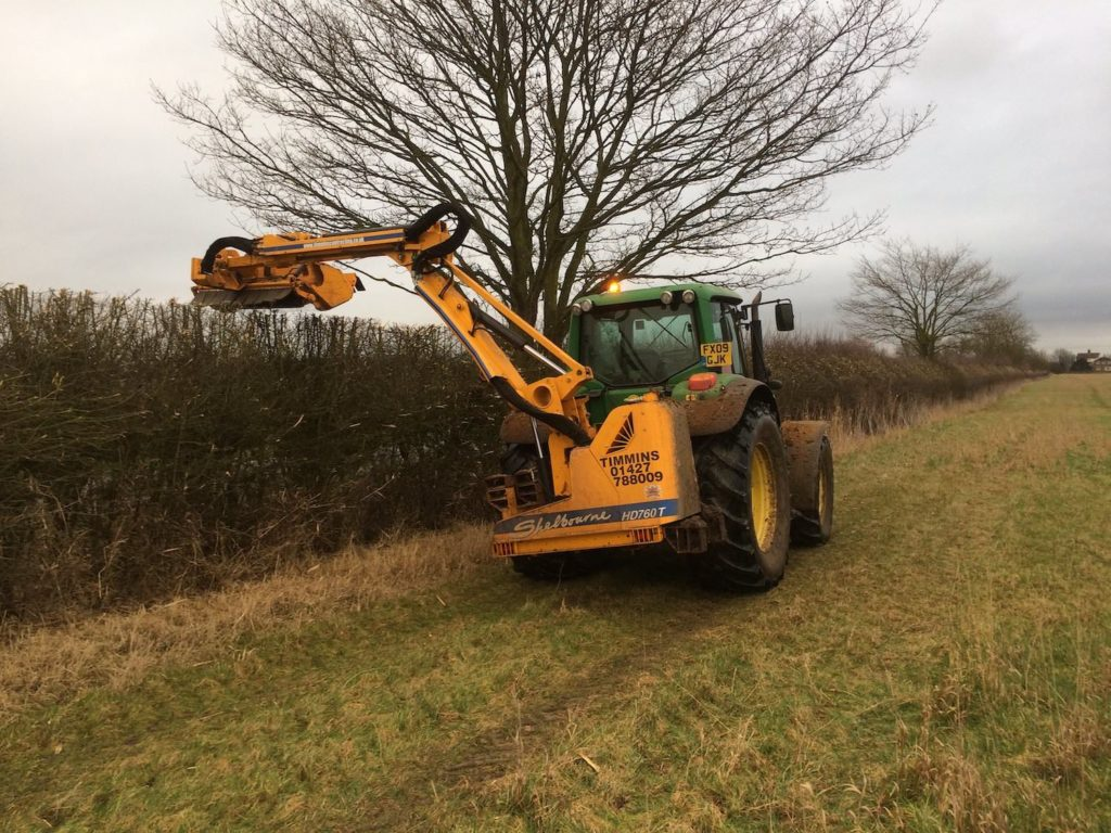 Hedge cutting for forestry mulching K W Timmins Lincolnshire
