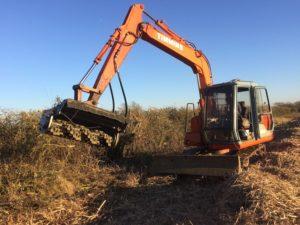 Excavator flail mower K W Timmins Lincolnshire